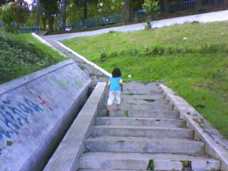 tangga dari lereng bukit Waduk Malahayu