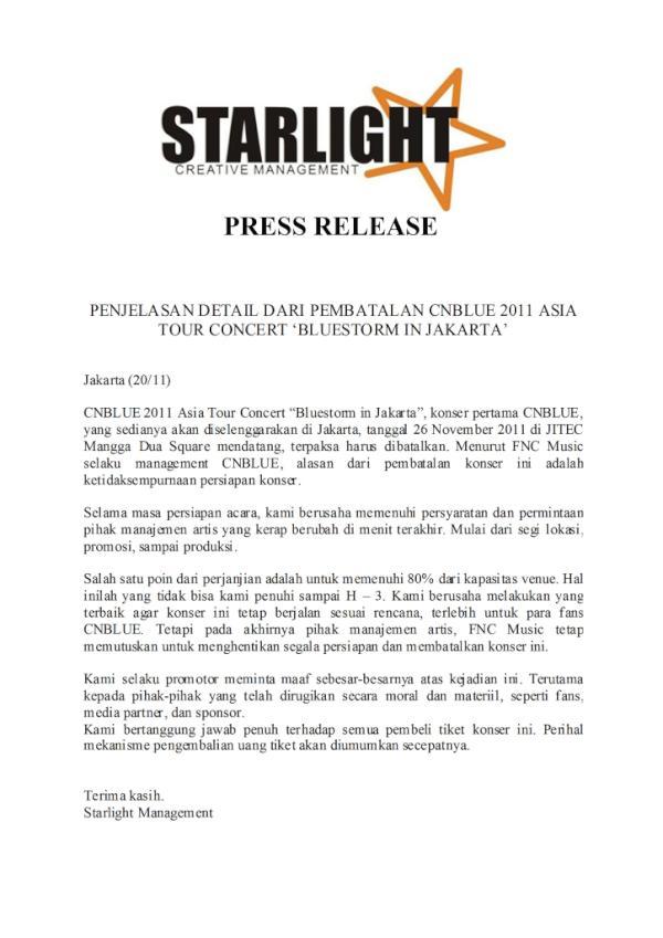 Surat Pembatalan Konser CN Blue di Indonesia